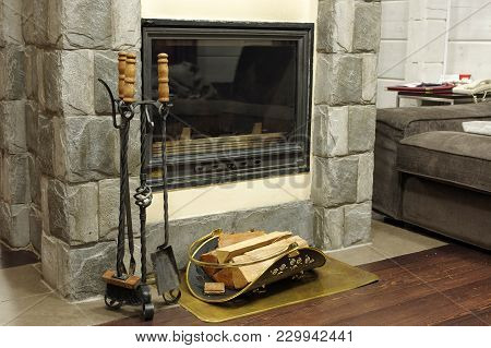 The Fireplace Warms The Room And People. Concept: Family Cosiness And Celebration, Welcome Friends,