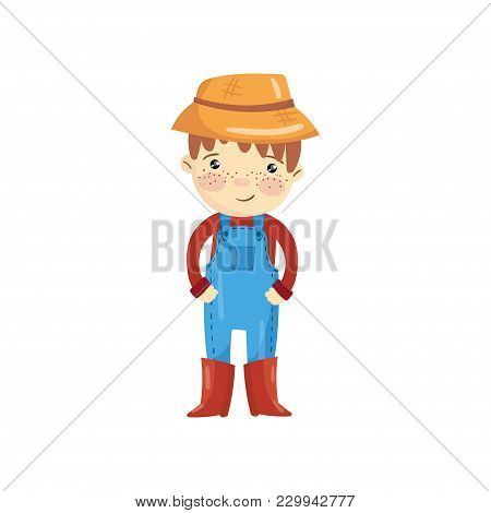 Cartoon Character Of Young Farmer In Blue Overall, Red Sweater, Boots And Straw Hat. Little Gardener