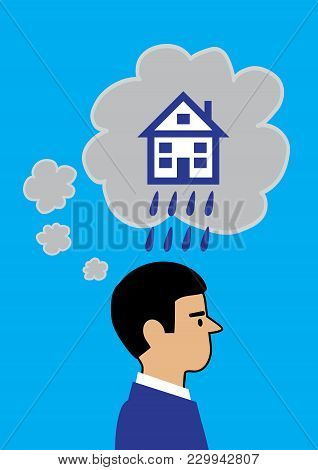 A Vector Illustration Of A Man With Dark Cloud Thought Bubbles Emanating From His Head. The Large Bu