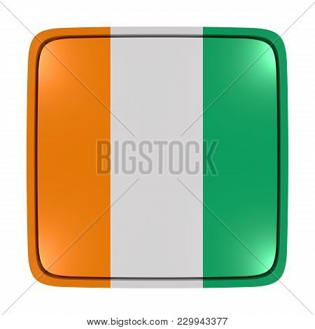 3d Rendering Of An Ivory Coast Flag Icon. Isolated On White Background.