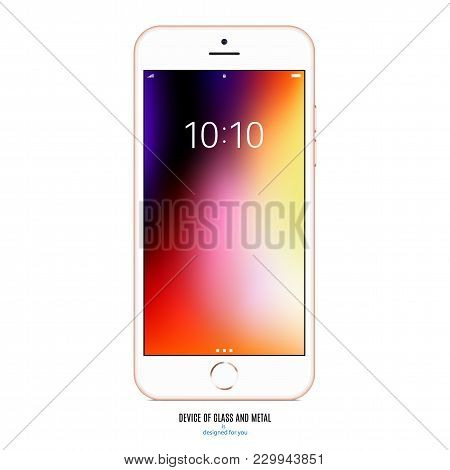 Smartphone Gold Color With With Colored Screen On White Background. Stock Vector Illustration Eps10