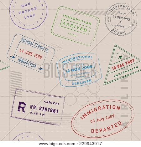 Travel Stamp Collection Pattern. Vintage, Modern, And Flexible Stamp Pattern. The Art Vector Graphic