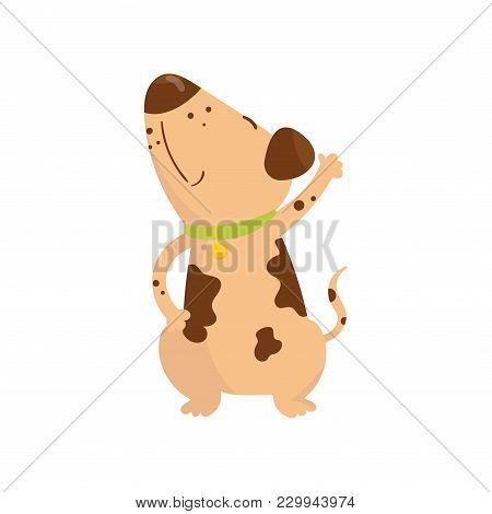 Funny Little Dog With Brown Spots On Body. Cartoon Puppy Character With Green Collar. Human S Best F