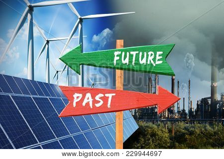 Power Generation In Future With Wind Turbine And Photovoltaic Panels Versus Past Industries With Pol
