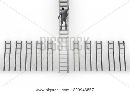 Businessman climbing career ladder in business success concept