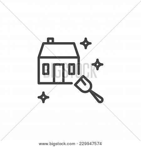 House Cleaning Service Outline Icon Linear Style Sign For Mobile Concept And Web Design Domestic Simple Line Vector