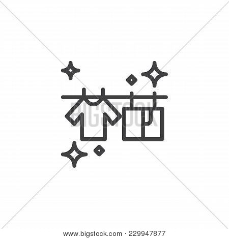 T-shirts Hanging On A Clothesline Outline Icon. Linear Style Sign For Mobile Concept And Web Design.