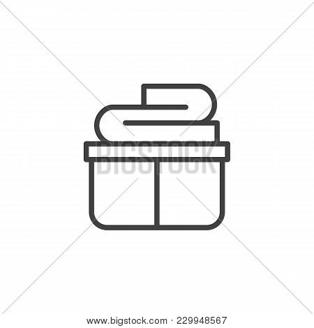 Clean Clothes Basket Outline Icon. Linear Style Sign For Mobile Concept And Web Design. Laundry Simp