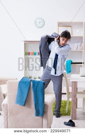 Businessman late for office due to oversleeping after overnight working