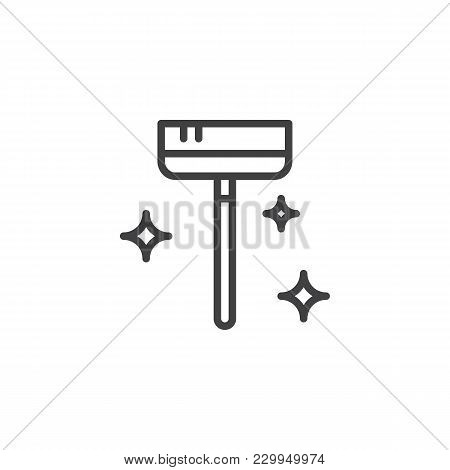 Clean Broom Outline Icon. Linear Style Sign For Mobile Concept And Web Design. Maid Service Simple L