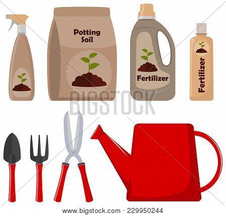 Set Of Gardening Tools, Potting Soil, Various Fertilizers In Bottles And Spray Gun. Vector Illustrat