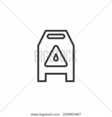 Slippery Wet Floor Sign Outline Icon. Linear Style Sign For Mobile Concept And Web Design. Warning C