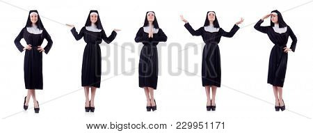 Nun isolated on the white background