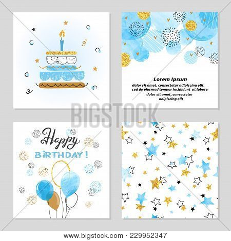 Happy Birthday Cards Set In Blue And Golden Colors. Celebration Vector Illustrations With Birthday C