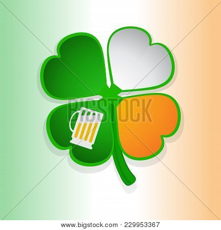 St Patricks's Shamrock And Beer Glass