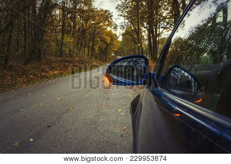 Side Mirror Turn Signal. Turn Indicator On The Mirror (left) And Blue Car On The Road In Autumn Fore