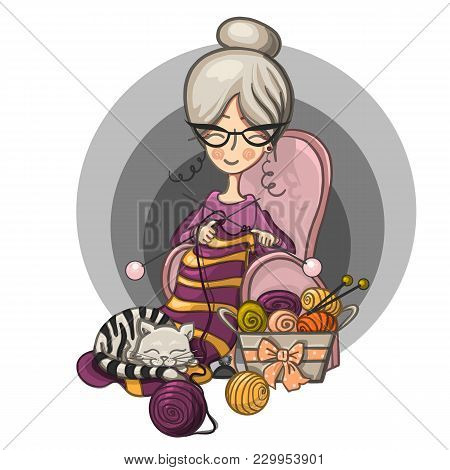 Color Hand Paint Cartoon Character Happy Cute Smiling Granny Woman With Glasses Sits In A Chair And