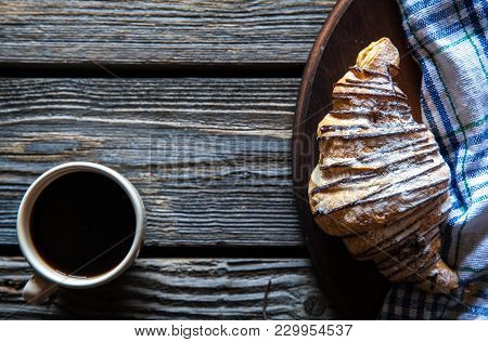 Cup Of Espresso Coffee And Croissant In Turquoise Blue Ceramic Tray Over Grey Concrete Background, S