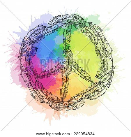 Black And White Boho Sign Of Peace Made Of Feathers And Rainbow Watercolor Splashes. Pacific. Vector