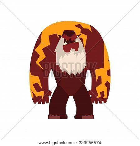 Giant Strong Fantasy Magical Creature Character Vector Illustration Isolated On A White Background.