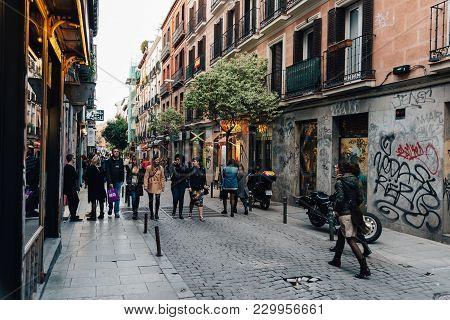 Madrid, Spain - November 3, 2017: Street Scene In Malasana District In Madrid. Malasana Is One Of Th