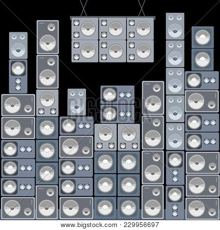 Wall Of Sound - Large Professional Concert Audio Speakers Set.
