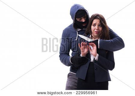 Businesswoman is kidnapped by the knifeman