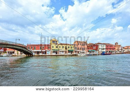 Daylight View To Venetian Lagoon And Parked Boat
