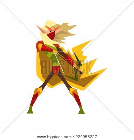 Mythical Elf Archer With Bow, Fantasy Magical Creature Character Vector Illustration Isolated On A W
