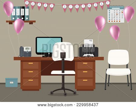 Workplace Of An Office Worker, Decorated For His Birthday. There Is A Desk, A Phone, A Printer, Chai