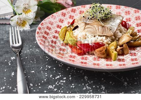 Roasted Pike Perch Perch With Vegetables And Rice Risotto