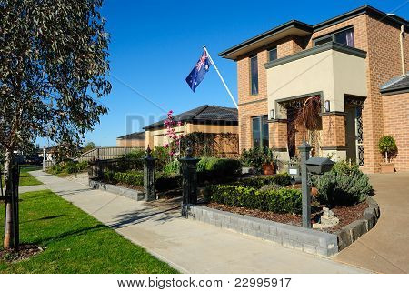 New Australian House, Eucalyptus, Magnolia, And Australian Flag