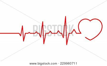 Heart Pulse, Cardiogram Line Vector Illustration Isolated On White Background, Heartbeat