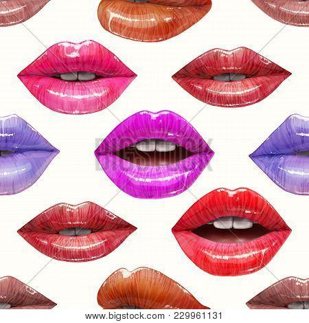 Seamless Pattern Of Colorful Sexy Lips. Vector Lipstick Or Lip Gloss 3d Realistic Design. Fashion Il