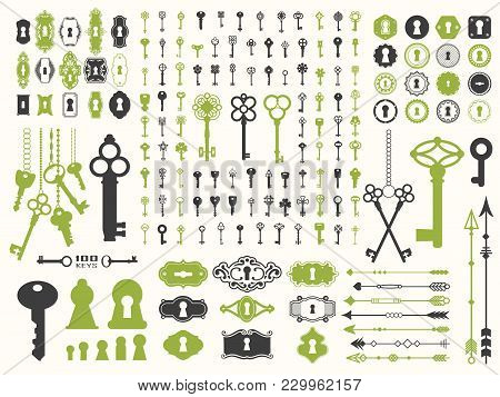 Vector Illustration With Design Illustrations For Decoration. Big Silhouettes Set Of Keys, Locks, Ar