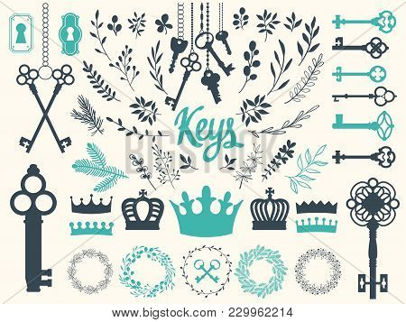 Vector Illustration With Design Illustrations For Decoration. Big Silhouettes Set Of Keys, Wreaths,