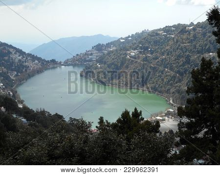 Nainital In India, Excellent View Of Lake, Ancient Vedic Age Lake In Uttarakhand State, Natural Lake