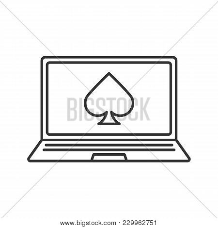 Online Casino Linear Icon. Laptop Display With Spade Card Suit. Thin Line Illustration. Contour Symb