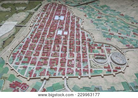 Merida, Spain - December 20th, 2017: Scale Model Of Imperial City Of Emerita Augusta At National Mus