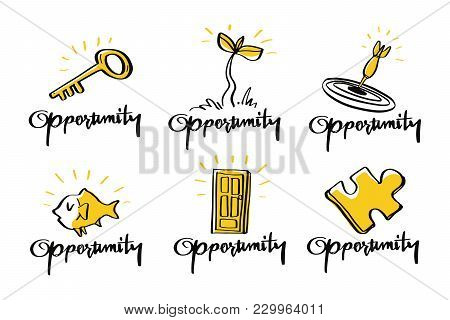 Vector Illustration Design Opportunity Collection Doodle Style Set, Opportunity, Target, Success, Co