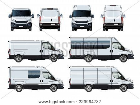 Vector Vans Set Template Isolated On White. Side, Front And Back View. Available Eps-10 Separated By