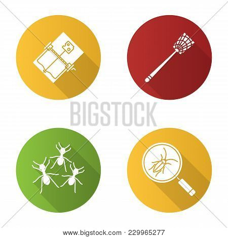 Pest Control Flat Design Long Shadow Glyph Icons Set. Cockroach Searching, Fly-swatter, Mouse Trap,