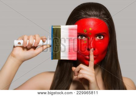 Female Supporter In National Colors Of China