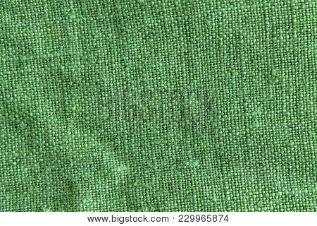 Green Linen Natural Texture Or Background For Web Site Or Mobile Devices.