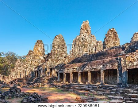 Bayon Ancient Temple At Ankgor Thom The Last Capital City Of The Khmer Empire. Also Is A Well-known