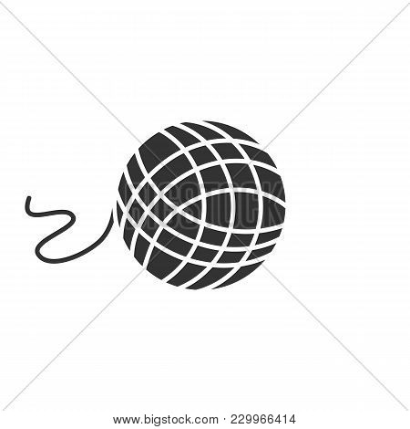 Knitting Yarn Clew Glyph Icon. Wool Thread Ball. Silhouette Symbol. Negative Space. Vector Isolated