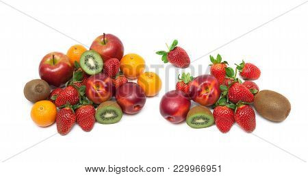 Ripe Fresh Fruits Isolated On White Background. Horizontal Photo.