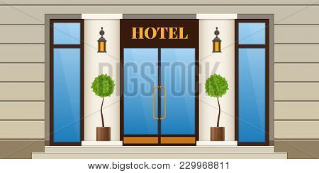 Modern City Facade Of Hotel Building. Panel Facade Of Hotel Building With Window And Door. Exterior