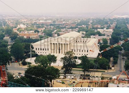 United States Supreme Court Building As Seen From The Top Of The United States Capitol Building, Was