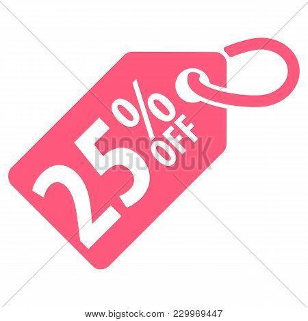 25 Percent Off Tag. Vector Illustration. Isolated On White